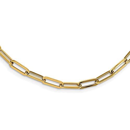 Collar de eslabones de oro pulido de 14 quilates para mujer, 81 cm
