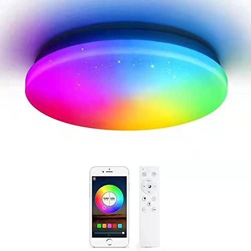 OFFDARKS LEDシーリングライト 6畳、リモコン付き、alexa対応、alexaシーリングライト、調光調色、3000-6500K、APP制御、取付簡単、天井照明 内玄関 廊下灯 寝室 バスルーム 子供部屋照明 (φ28cm-28w)