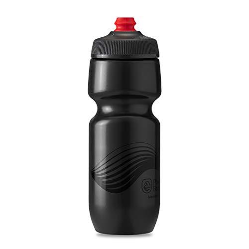 Polar Bottle Breakaway Wave Lightweight Bike Water Bottle - BPA-Free, Cycling & Sports Squeeze Bottle (Charcoal & Black 24 oz)