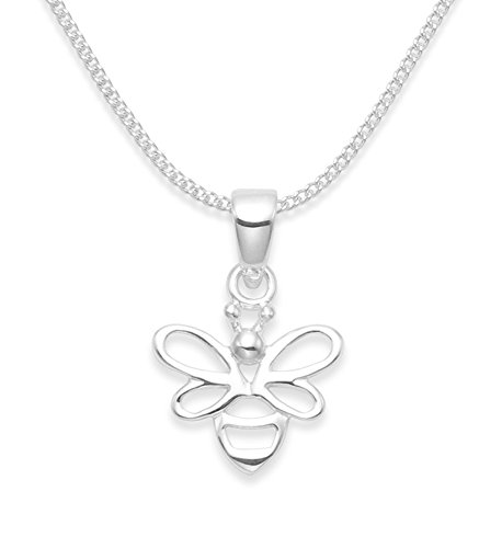 Sterling Silver Bee Necklace on 16' silver chain - SIZE: 13mm x 12mm (20mm including pendant top). Gift Boxed 8088/Hnbox