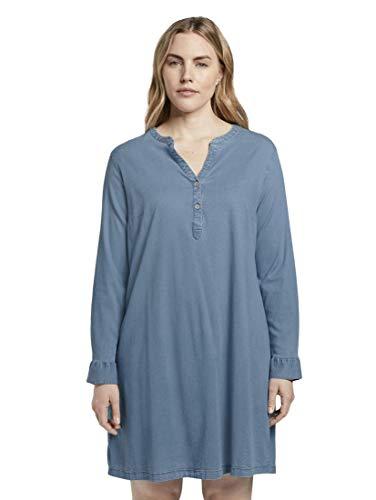 TOM TAILOR MY TRUE ME Damen Kleider & Jumpsuits Schlichtes Chambray-Hemdkleid Light Blue Denim Look Chambray,46