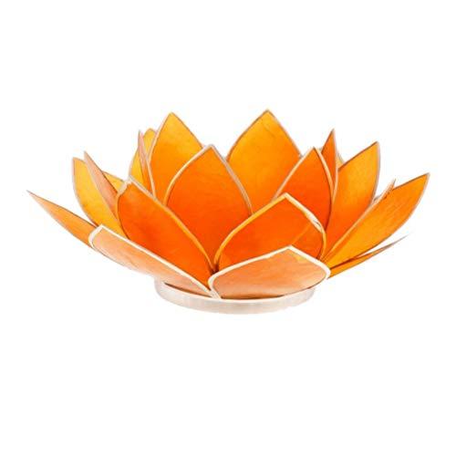 Porte Bougie Fleur de Lotus Orange et argent 2nd chakra