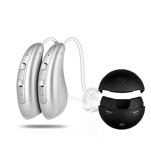 HWZZ Amplificador De Audición Digital: Par De Amplificadores De Sonido De Mejora De La Audición Personal, Digital Recargable con Batería para Todo El Día,Cromo