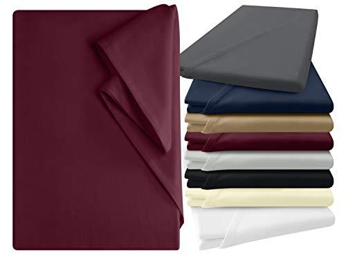 npluseins Bettlaken - 100% Baumwolle - in 6 Farben - in 3 verschiedenen Größen - Haushaltstuch ohne Spanngummi, ca. 150 x 250 cm, Bordeaux
