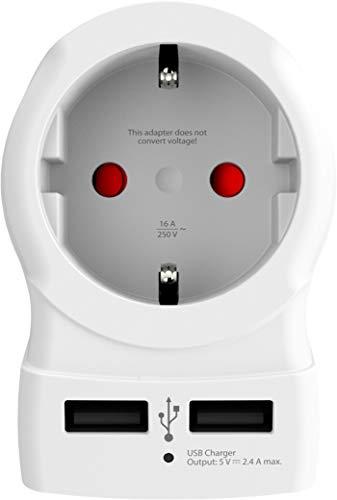 Skross Europe - Adaptador de Corriente a USA, Salida USB, Color Blanco