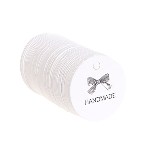 "Misright 100 Pcs 1.65"" Small Brown Kraft Gift Label Tags Handmade DIY Gift Box Wedding Favors Tags (White)"
