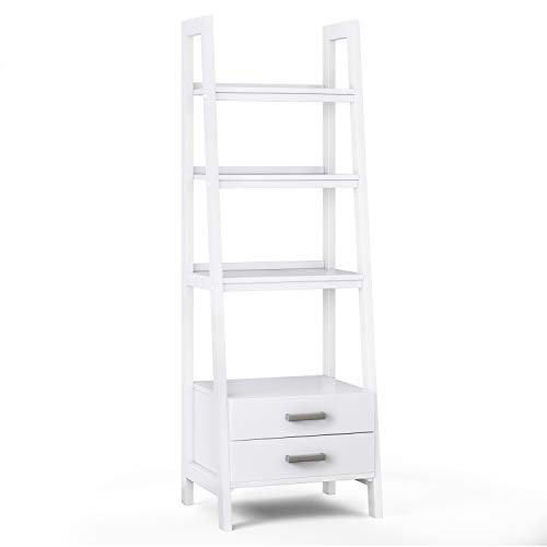 SIMPLIHOME Sawhorse SOLID WOOD 72 inch x 24 inch Modern Industrial Ladder Shelf with Storage in White with 2 Drawers and 4 Shelves, for the Living Room, Study and Office