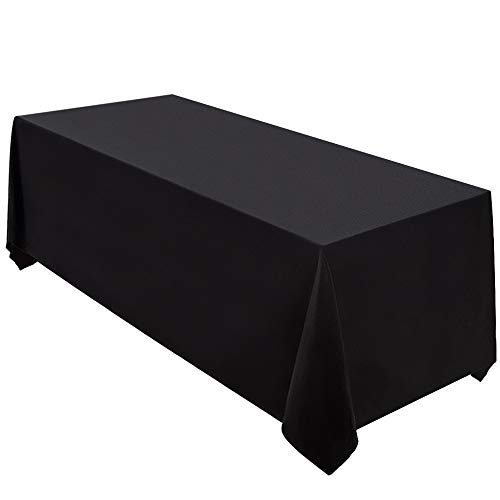Surmente Tablecloth 90 x 132-Inch Rectangular Polyester Table Cloth for Weddings, Banquets, or Restaurants (Black)