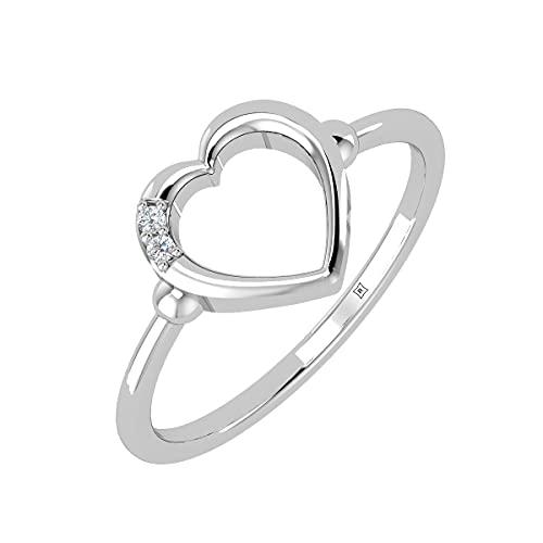 Rikhava Diamonds Solitario, compromiso, anillo de boda para mujer, joyería con oro blanco de 10 K, anillo certificado IGI de 0,01 quilates -52