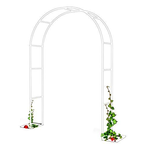 Arco de jardín de metal negro y blanco, apto para diversas plantas trepadoras, decoración de boda de jardín al aire libre