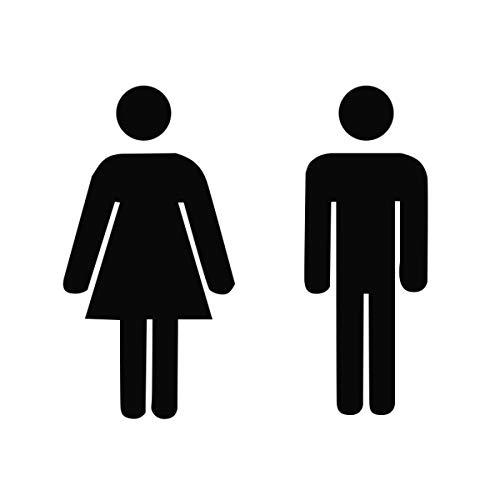 Cartello adesivo per uomo e donna, colore nero, per bagno, WC