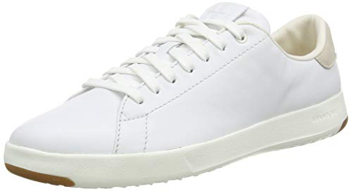 Cole Haan Women's GrandPro Tennis Leather Lace OX Fashion Sneaker, Optic White/Optic White, 7 B US