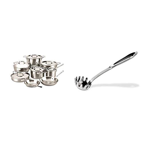 All-Clad BD005714 D5 Brushed 18/10 Stainless Steel 5-Ply Bonded Dishwasher Safe Cookware Set, 14-Piece, Silver & Ladle, 1-Pack, Stainless Steel