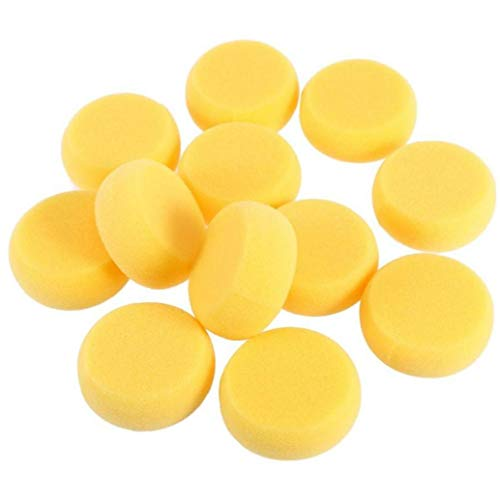 Lankater 12pcs Round Synthetic Watercolor Artist Sponges Potter Sponges for Painting Crafts Pottery Paint (yellow)