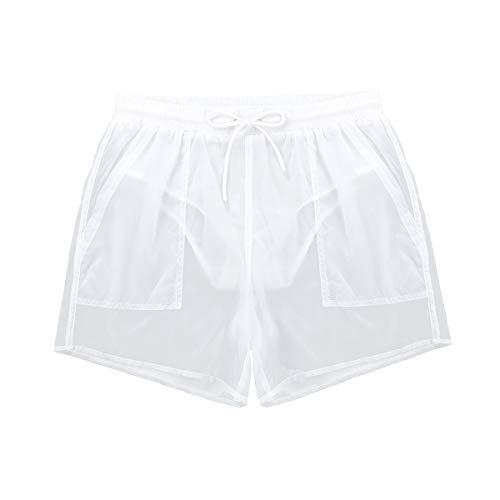 CHICTRY Herren Badehose Badeshorts Transparent Boxershorts Trunks Board Shorts Strand Surfen Shorts (Schnelltrocknend, Netzfutter, Kordelzug, Taschen) Weiß Large