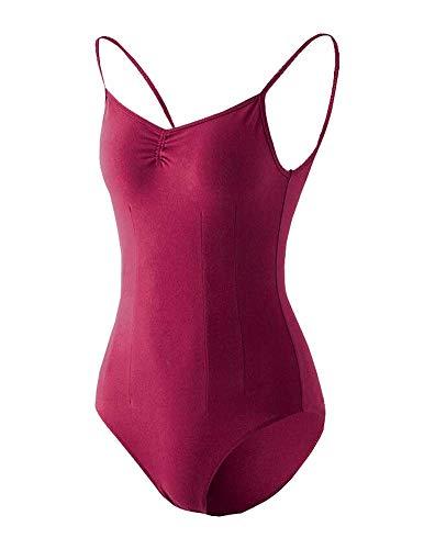 Black Temptation Costume de Gymnastique Femme Dancewear Combinaison de survêtement Ballet Topwear Court Wine Red
