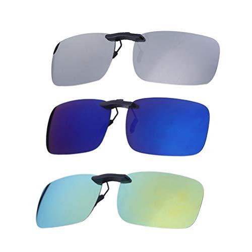 VORCOOL 3pcs Gafas de Sol de Clip en Flip Up Lente polarizada sin Marco Rectangle Lens Clip de Gafas de Sol graduadas Gafas para Myopia Glasse