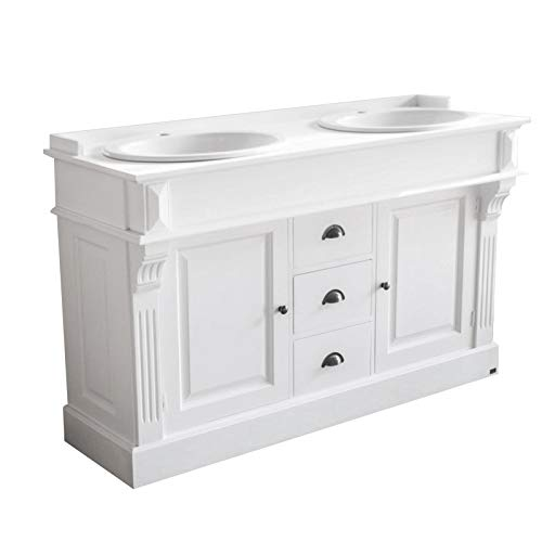 richhome Waschtisch weiß Massivholz, Doppelwaschtisch im Landhausstil, 2 Waschplätze