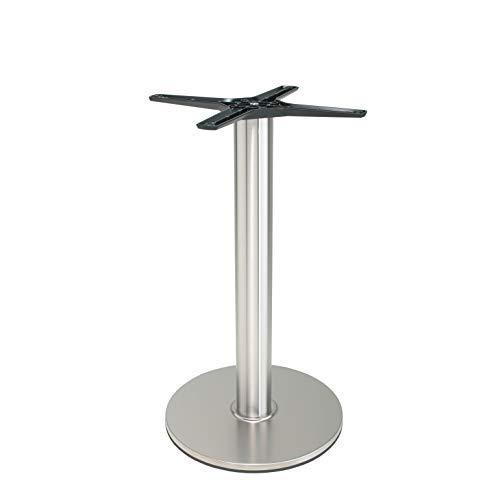 Edelstahl Tischgestell | DUBLINO P430inox (Nirosta), satiniert, matt | Runde Tischsäule mit 41 cm Durchmesser Bodenplatte