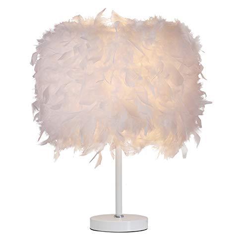 Lámpara de mesa (plumas blanco lámparas de noche, pantalla + Cable + LED lámpara