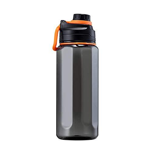 Jusemao Deportes al aire libre botella de agua a prueba de fugas portátil taza espacio fitness con paja botella de agua 1500ml Bpa Ferr-negro naranja 1.5L_1500ml