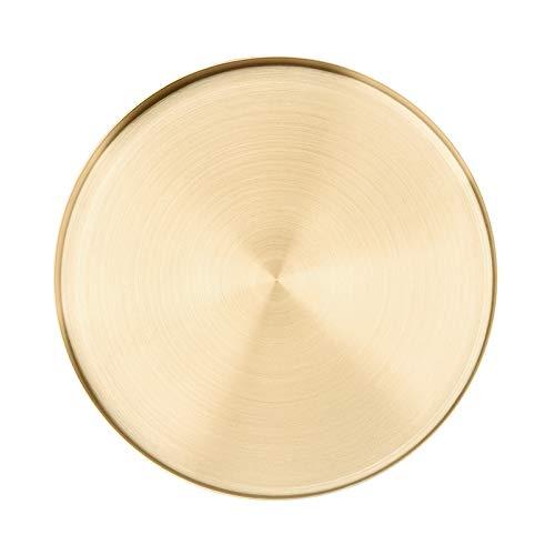 xldiannaojyb Bandeja Redonda de Oro, Nordic Ins Estilo Rectas del Acero Inoxidable Bandeja de Almacenamiento Ronda, Acabados de joyería Snack-Placa de té (Size : S:12.5cm)