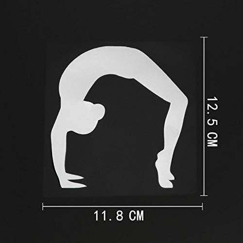 HKSOKLLJJ 3 Stück Auto Aufkleber und Abziehbilder 11.8CMX12.5CM Gymnastic Girl Sport wasserdichte reflektierende Aufkleber Tragbare Motorrad Auto Fahrrad DIY Party Patch Aufkleber