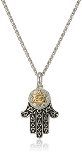 Effy Womens 925 Sterling Silver/18K Yellow Gold White Sapphire Pendant Necklace, Blue, 18