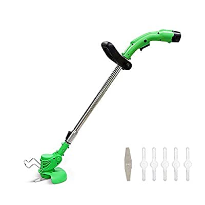 Selfome Home Use String Trimmer/Edger 12V 5.5-Inch Lawn Mower, European Power Plug Auto Feed Weed Wacker with 2Ah Lithium Battery, Replaceable Plastic & Metal Blade, Adjustable Length