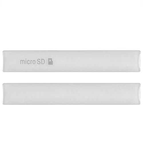 Hedywei Micro USB Cover per Sony Xperia Z3 Compact Micro SD/SIM Card Slot Bianco