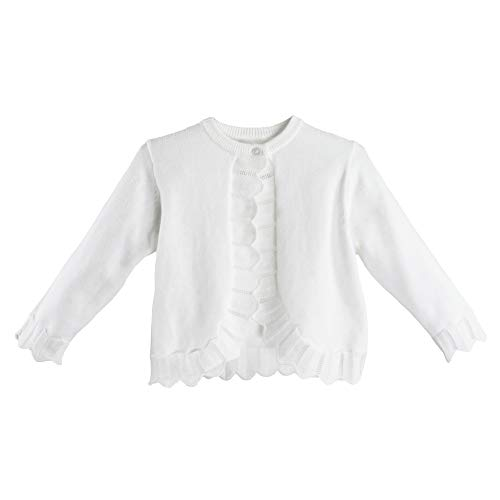 Petit Ami Baby Girls' Knit Pointelle Edge Bolero Sweater, 9 Months, White