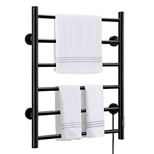 KEY TEK Heated Towel Warmer for Bathroom, Wall Mounted Hot Towel Racks with Timer, Stainless Steel Heated Towel Drying Rack, Plug-in/Hardwired… (Black, 6bars)