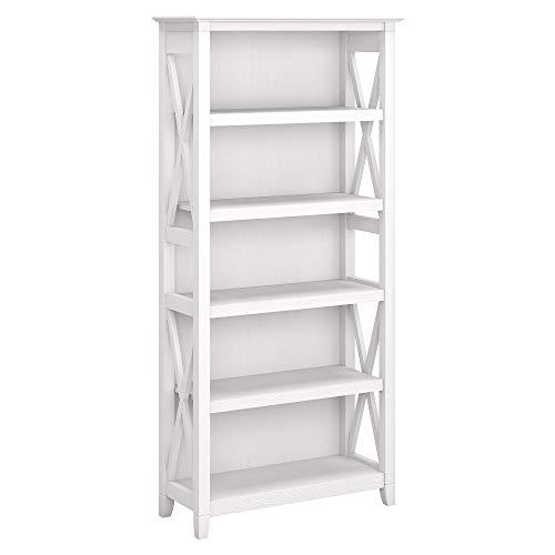 Bush Furniture Key West 5 Shelf Bookcase, Pure White Oak