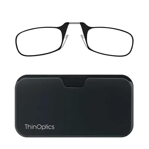 ThinOptics Universal Pod Rectangular Reading Glasses, Blk Frames/Blk Case, 1.5 x
