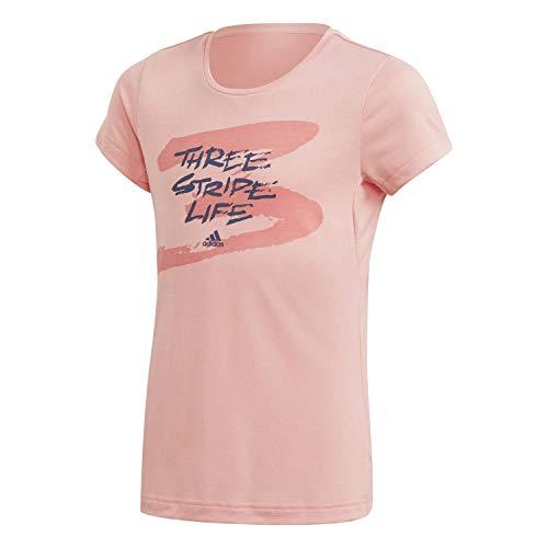 adidas Performance FM5852 Mädchen Shirt mit schönen grafischen Druck Rundhals und Kurzarm, Groesse 164, rosa
