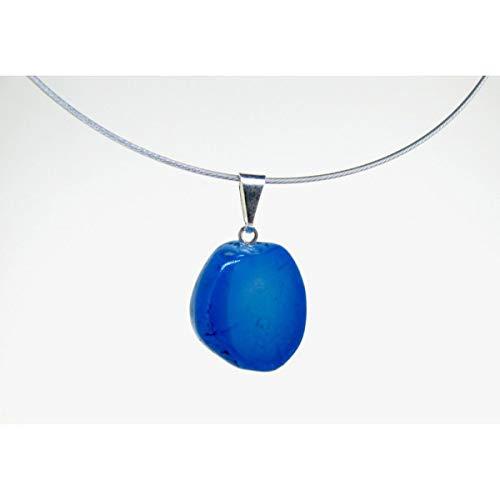 Mineral Import - Colgante Rodado de Ágata Azul Teñida - 3495VC