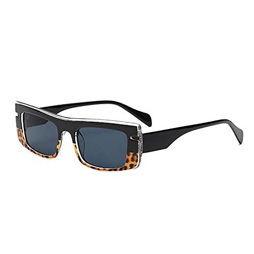 DLSM Vintage Gafas de Sol Femenino Pequeño rectángulo Moda Luz de Gafas de Sol Hombres Tendencias Coloridas Gafas de Sol Sombras UV400-Leopardo Negro Gris