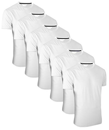 FULL TIME SPORTS® FTS-634 6 Pack All White Round Neck Tech T-Shirts (12) XX-Large, White