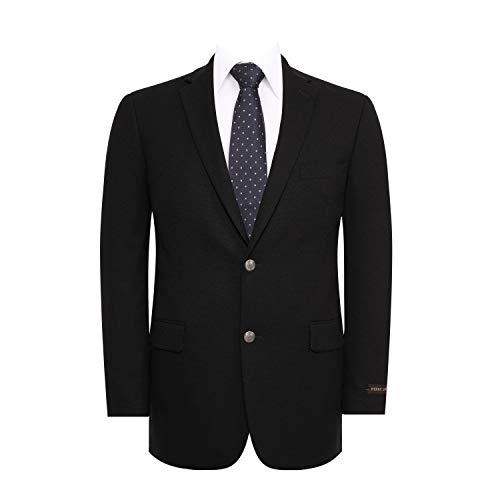 Men's Suit Jacket Classic Fit 2 Button Stretch Blazer Sport Coat Black