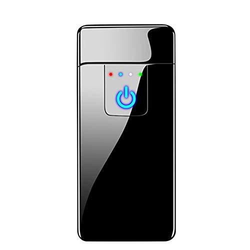 Encendedor De Doble Arco A Prueba De Viento Encendedor USB Recargable Sensor De Huellas Dactilares Electrónico Sin Llama con Pantalla De Energía para Cigarrillos Al Aire Libre BBQ