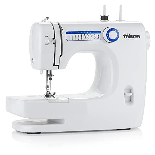 Tristar Macchina da cucire - macchina a braccio libero con 10 programmi preimpostati, regolatore di velocità, funzione di cucitura in avanti e indietro, SM-6000