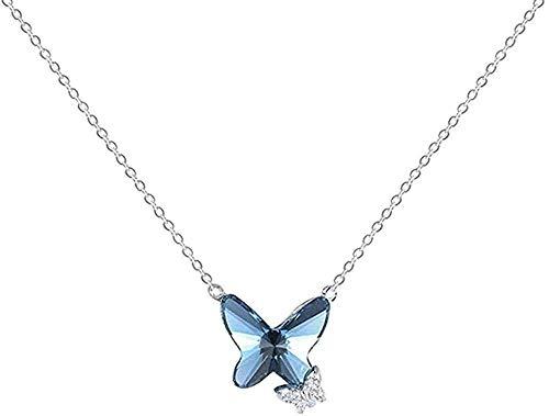 LKLFC Collar Azul Cristal Mariposa Collar Mujer joyería Amor Memoria Boda para Mujer Colgante Collar Regalo para Mujeres Hombres niñas niños