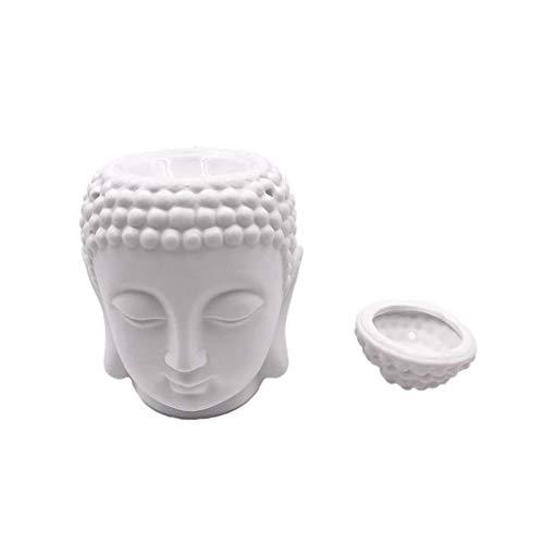 ZTMN Incenso Buddha in Ceramica Aroma Dispenser di Olio Aromaterapia Bruciatore di Olio Incenso Buddha Incenso Stick Bruciatore di incenso (Colore: Bianco)