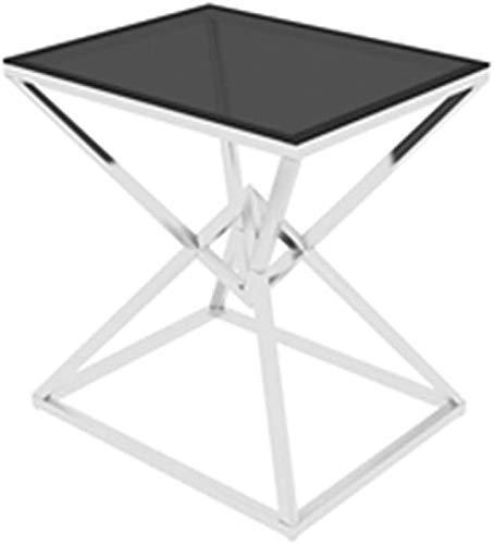 Nest Of Tables Mesa de centro blanca Mesas auxiliares Mesa para computadora portátil Hierro forjado Sofá lateral cuadrado Café con tapa de vidrio Computadora portátil con marco de metal Uso de cabece