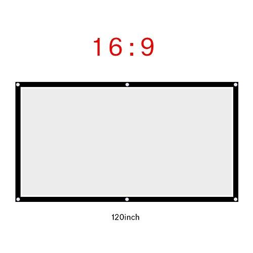 Tonysa 60-120 inch opvouwbaar projectorgordijn, 16:9 projectiescherm, draagbaar projectorscherm voor outdoor, camping, film, open luchtbioscoop. Compatibel met synthetisch polyesterweefsel