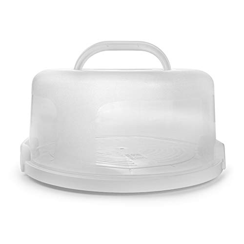 Round Cake Carrier 11 Inch Plastic Cake Container with Handle and Lid for Travel, White