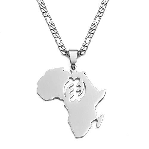 Mapa de África símbolo colgante collares mujeres hombres Color oro Adinkra Gye Nyame joyería étnica Ghana-plata__60cm_