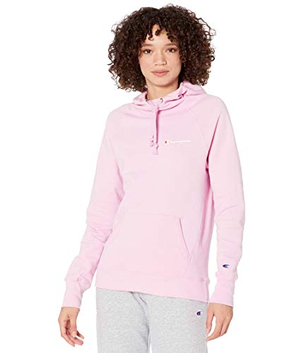 Champion Women's Powerblend Fleece Hoodie, Left Chest Script, Beloved Orchid, XX-Large