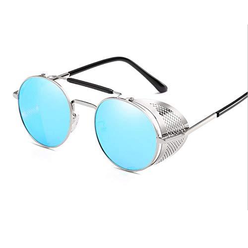 NJJX Gafas De Sol Steampunk Redondas Retro Para Hombres Y Mujeres, Gafas De Protección Lateral, Montura Metálica, Lentes De Espejo Góticas, Gafas De Sol