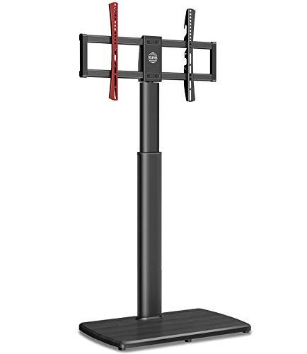 FITUEYES Soporte alto para TV de piso para TV de hasta 65 pulgadas giratorio en voladizo soporte de TV con base de madera, fácil montaje para 40 kg
